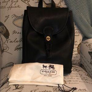 Vintage leather large Coach black leather backpack